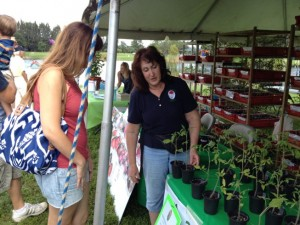 Event leader Marsha Eisenberg talks tomato with a customer. Marsha and other club members were sporting the new PGC polo shirts and club logo