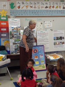 Jo Marie telling students about where food comes from