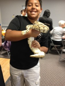 Young visitor enjoys holding a snake